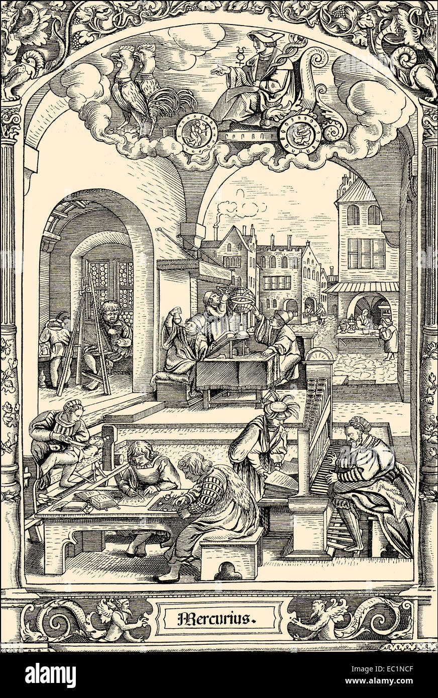 City life in the 16th century in Germany, - Stock Image