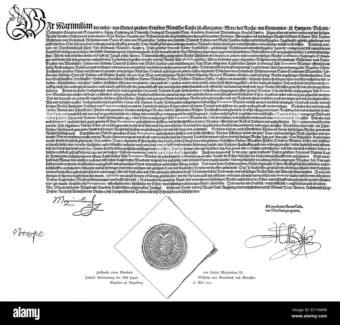 Imperial ban signed on 13 May 1566 by Emperor Maximilian II against Duke John Frederick II, - Stock Image