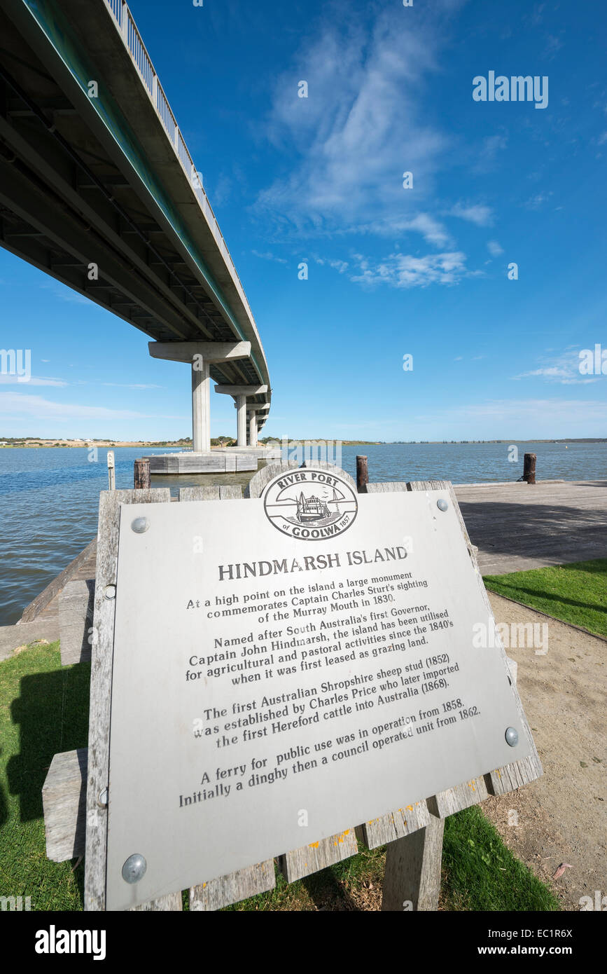 The Hindmarsh Island Bridge and Goolwa dock, South Australia - Stock Image