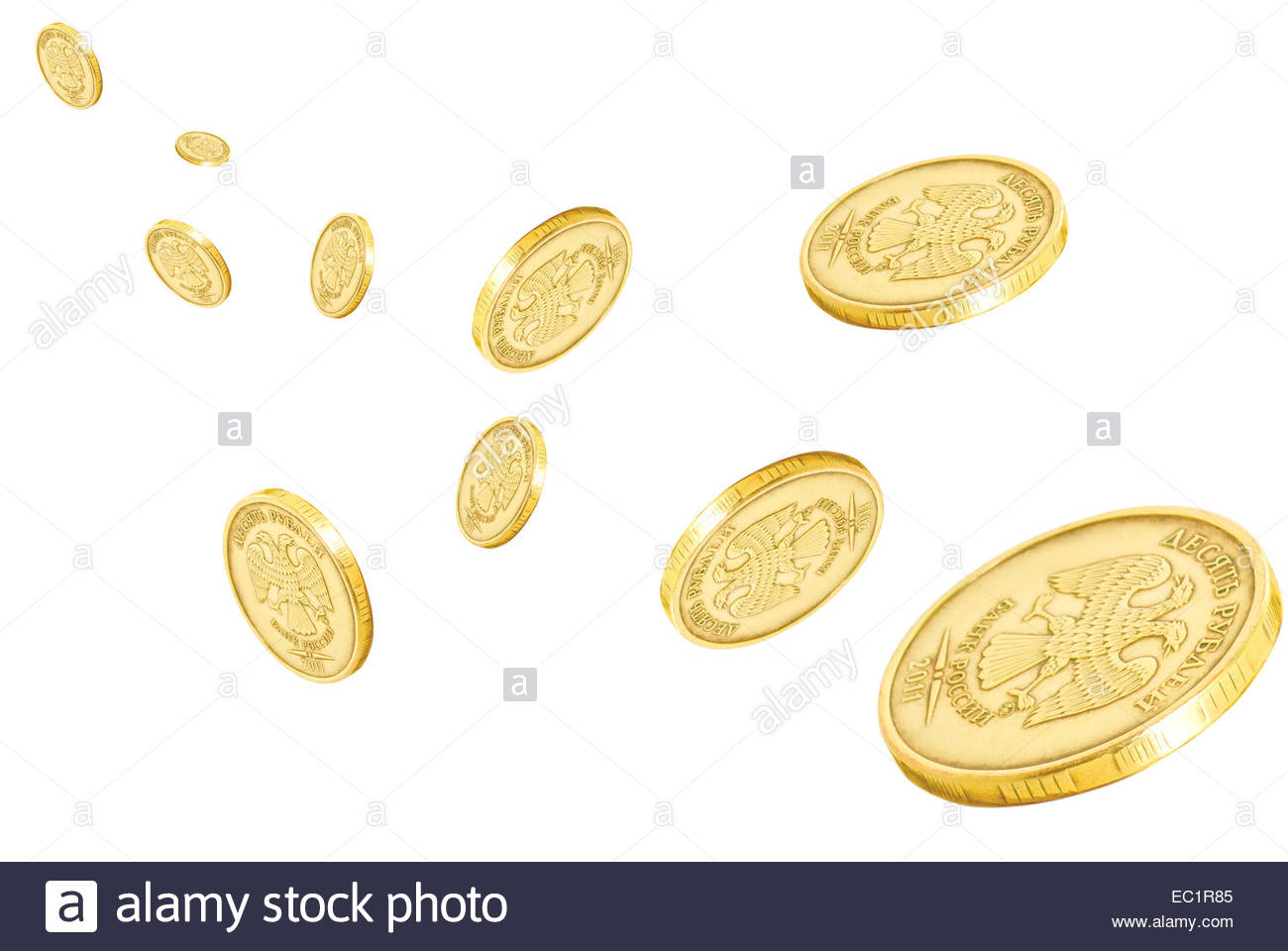 Collage with coins on a white background. - Stock Image