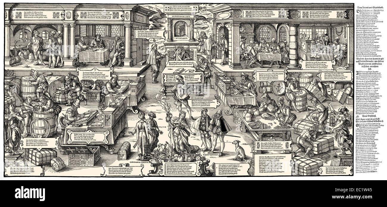 Trade and the estate of the merchants in Germany, 16th century, - Stock Image