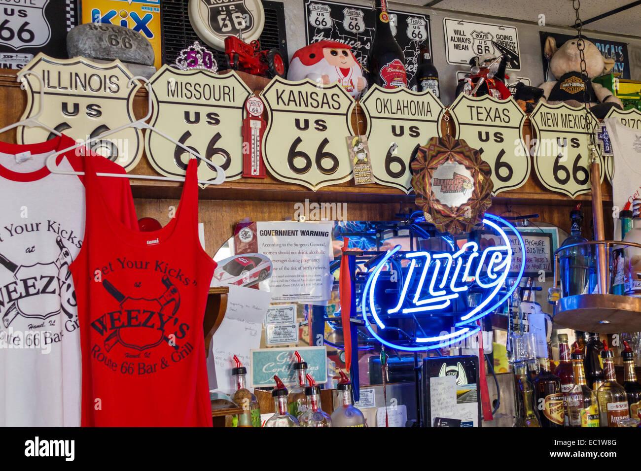 Illinois Hamel Historic Route 66 Weezy's restaurant inside interior souvenir tee shirts sale - Stock Image