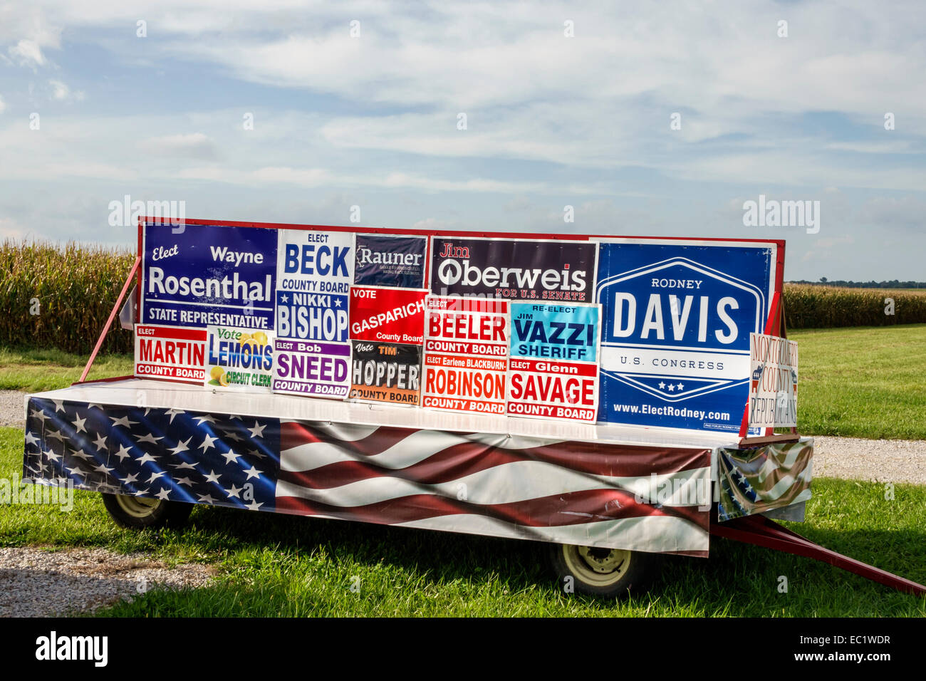 Illinois Waggoner Historic Route 66 corn cornfields rural campaign signs candidates local elections voting politics - Stock Image
