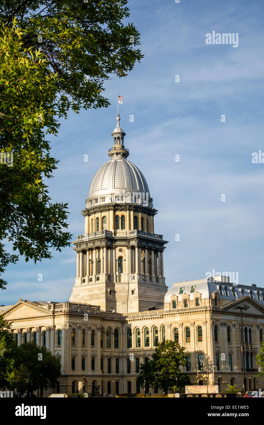 Springfield Illinois State Capitol Building French Renaissance architectural style zinc dome - Stock Image