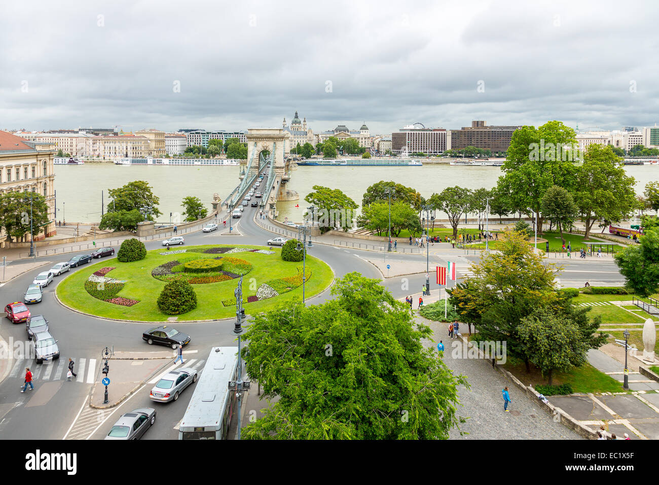 View across the Danube to Pest from The Buda Castle Hill, with the Szecheni Chain Bridge ( Lanchid ). Budapest, Stock Photo
