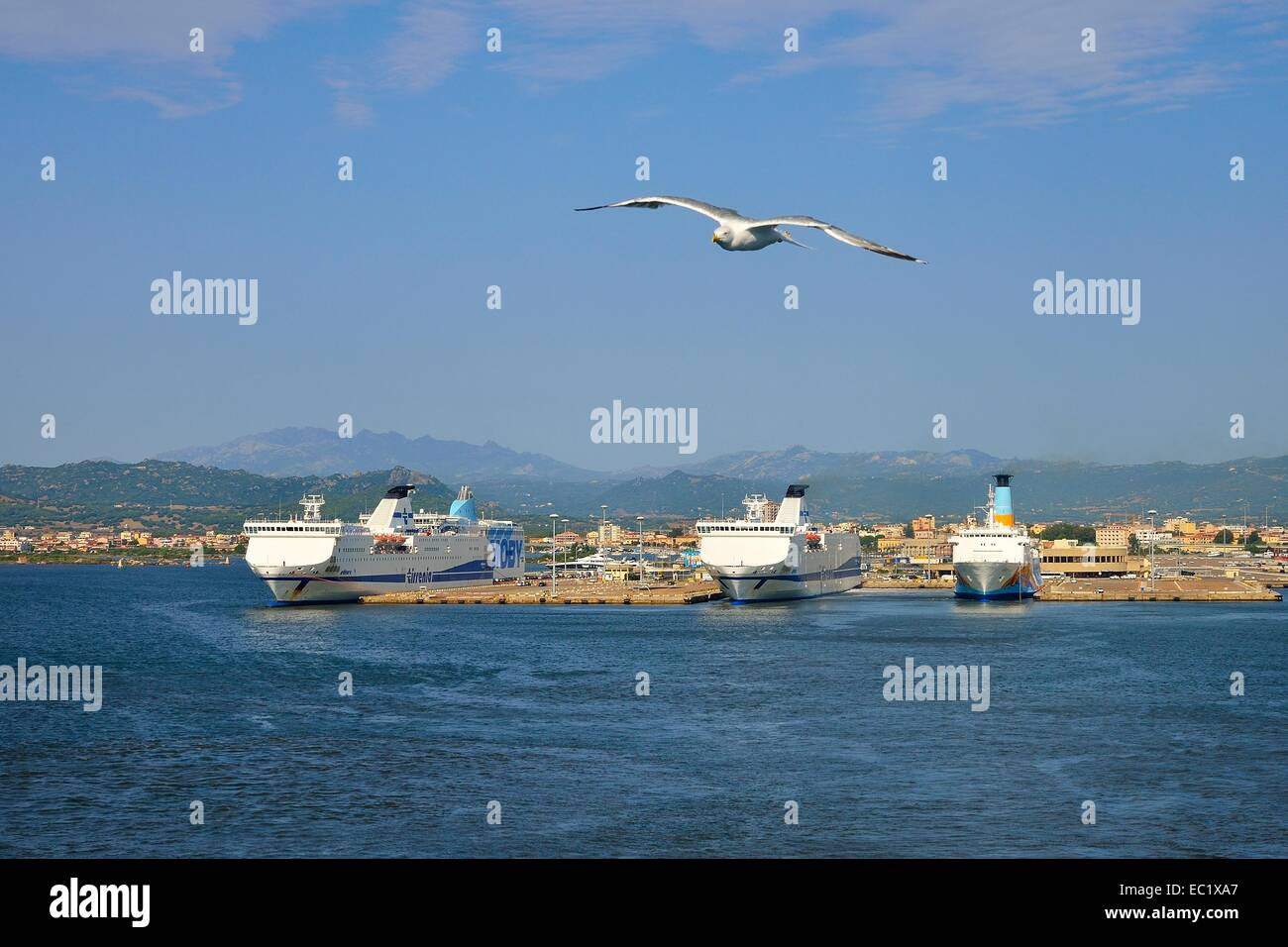 Ferries at the pier in Ferry, Olbia, Province of Olbia-Tempio, Sardinia, Italy Stock Photo