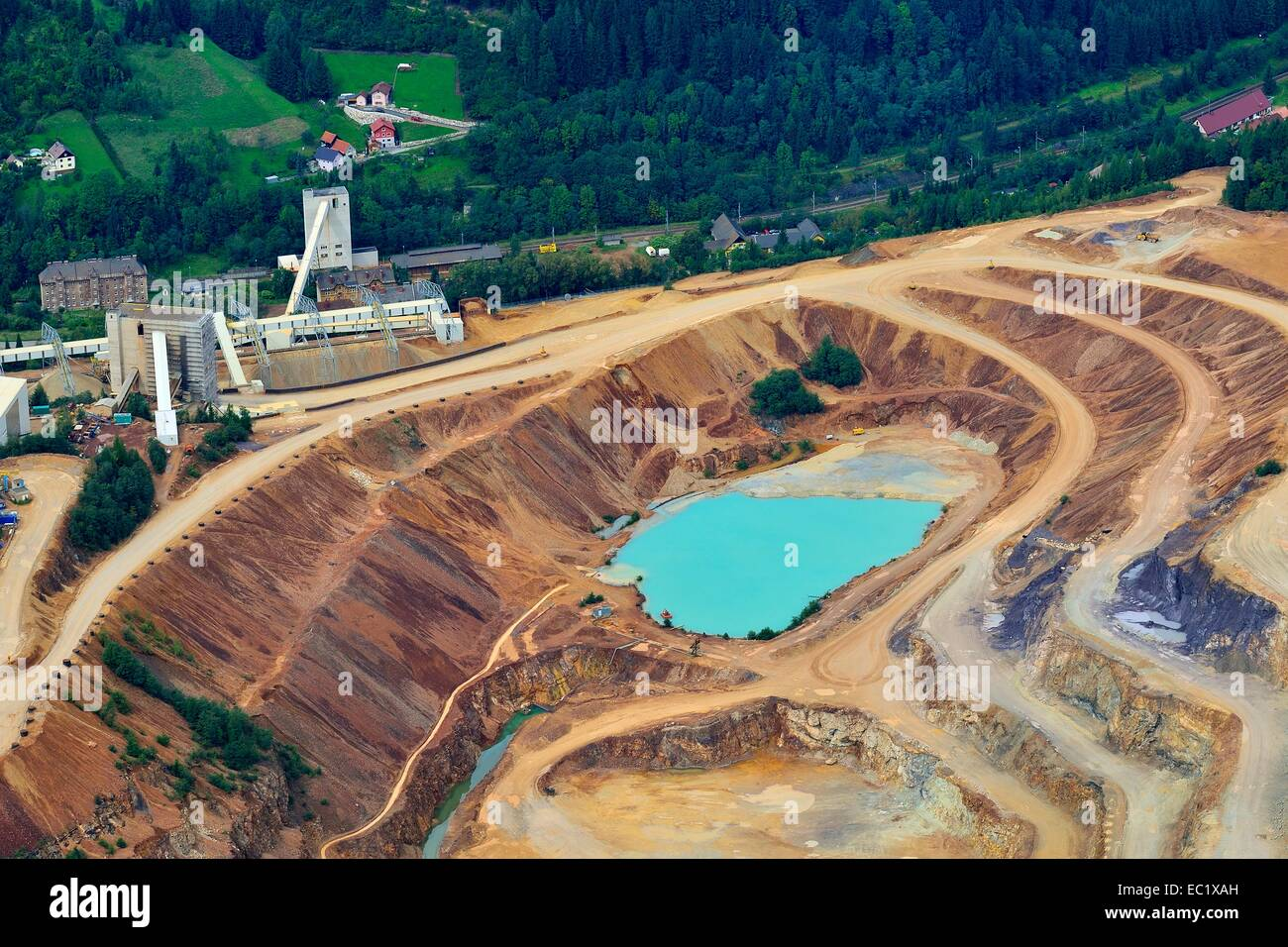 Sedimentation pool, sludge pond, open pit ore mining, Erzberg mountain at Eisenerz, Styria, Austria - Stock Image