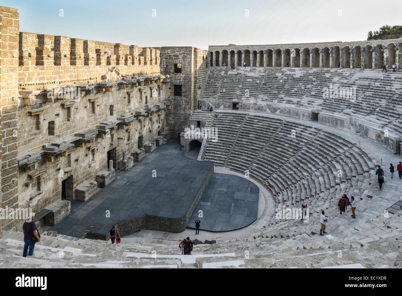 Roman amphitheater in Aspendos, 155 n. Chr., in Serik, Turkish Riviera, Antalya Province, Turkey - Stock Image