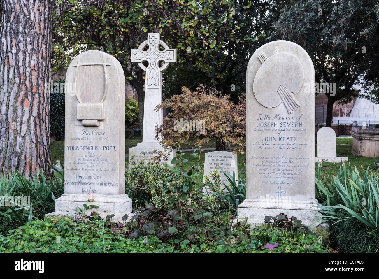 Grave, John Keats, a poet of the English Romanticism, on the right the grave of Joseph Severn, English painter - Stock Image