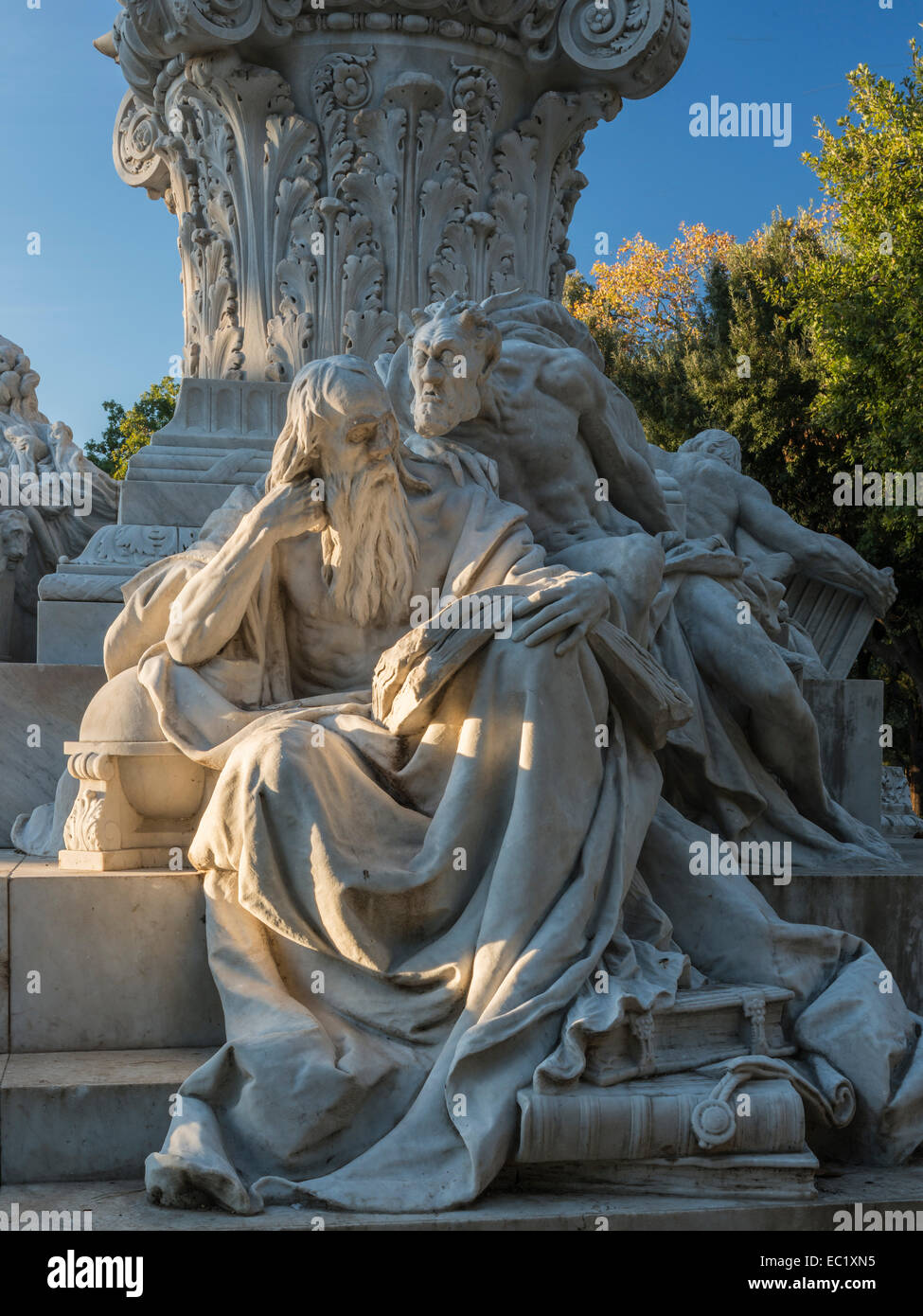 Goethe monument, sculpture group Faust and Mephistopheles, marble, 1904, sculptor Gustav Eberlein, Pinciano, Rome, Stock Photo