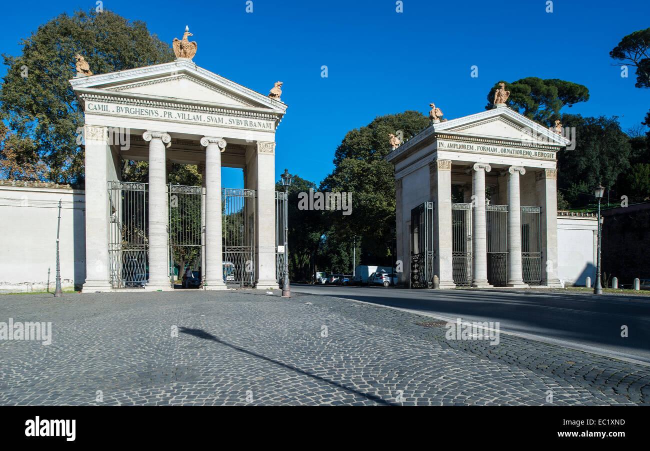 Main entrance to the park of Villa Borghese Piazzale Flaminio, Pinciano, Rome, Lazio, Italy - Stock Image