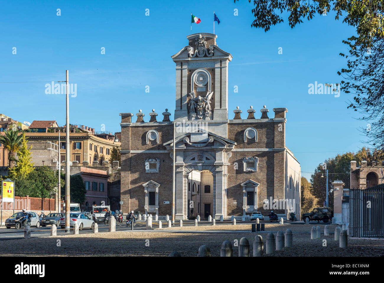 Porta Pia, double gate in the Aurelian Walls, from 1561 to 1565, Michelangelo, historical museum, Rome, Lazio, Italy - Stock Image