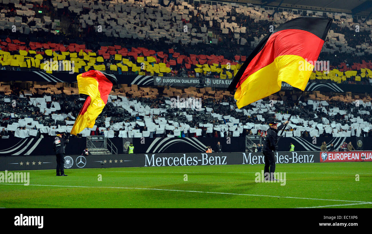 Flag wavers before the start of the game, choreography, Grundig Stadion, Nuremberg, Bavaria, Germany - Stock Image