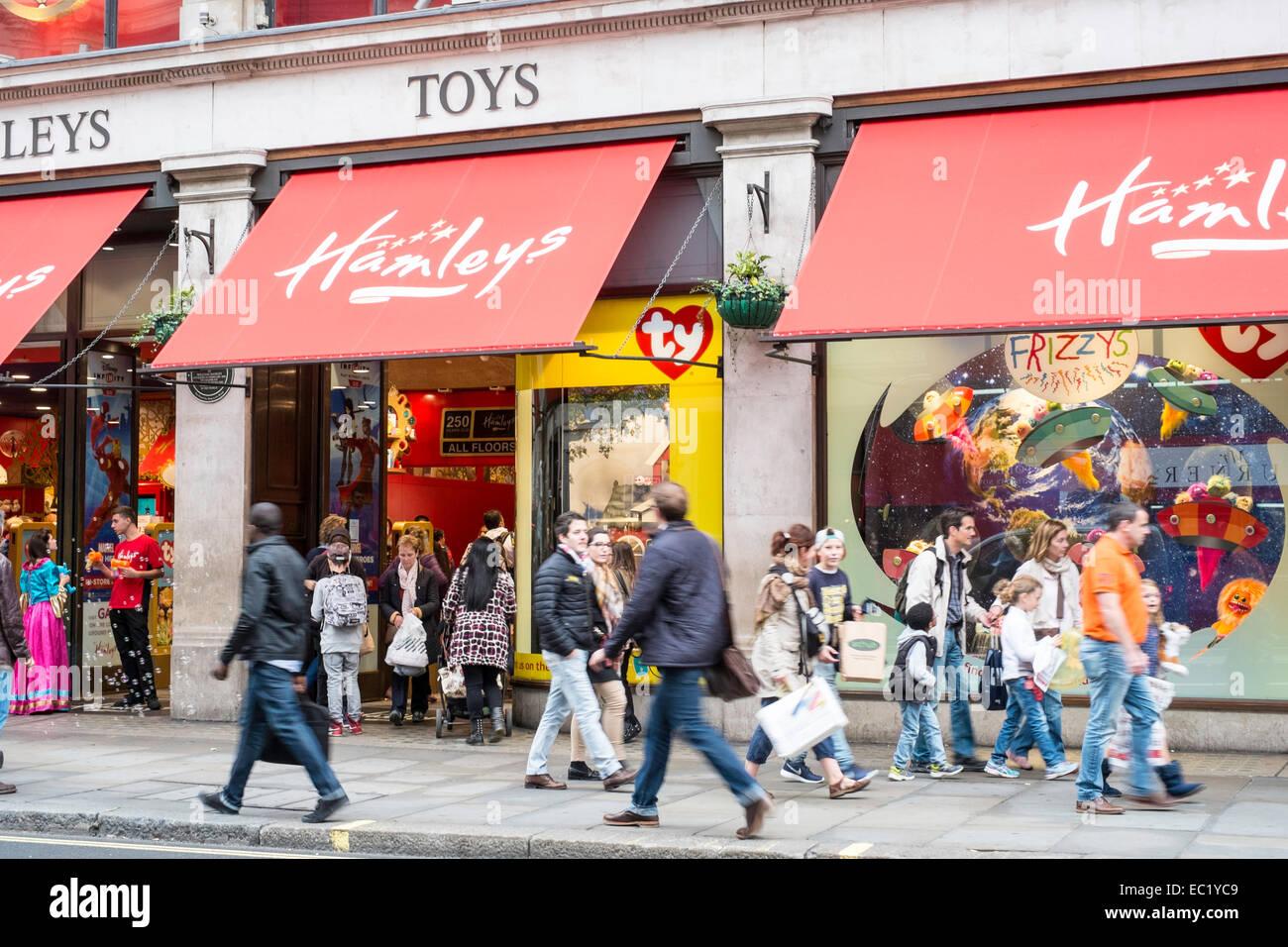 London UK Hamleys shopping Regent Street busy - Stock Image