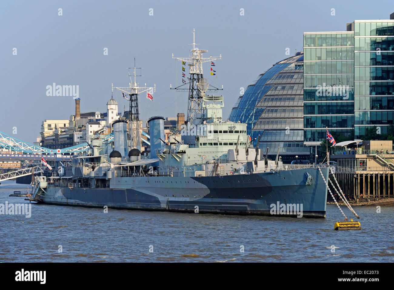 HMS Belfast museum ship of the Imperial War Museum, River Thames, South Bank, London, England, United Kingdom - Stock Image