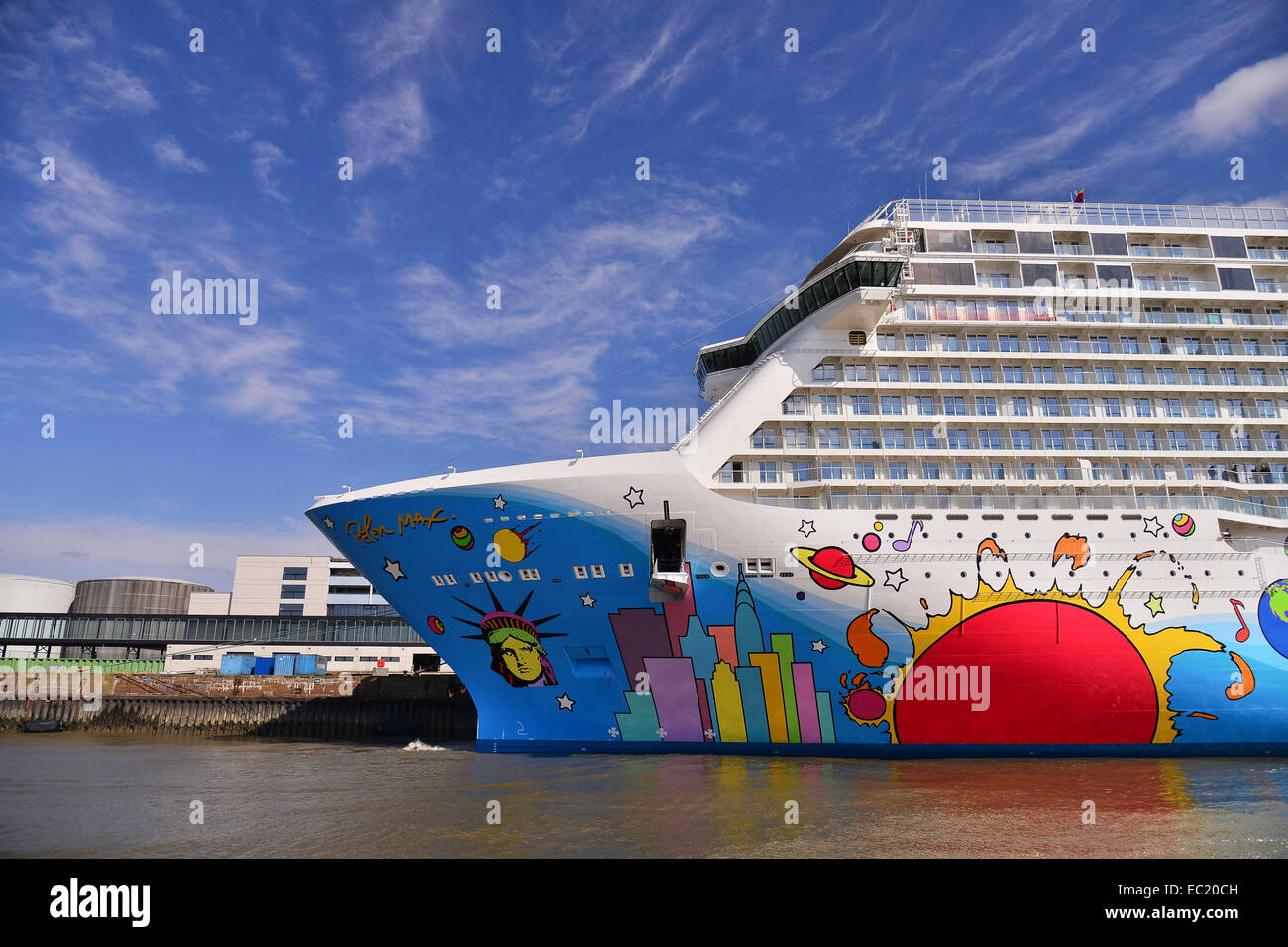Cruise ship Norwegian Breakaway, Norwegian Cruise Line, Bremerhaven, Bremen, Germany - Stock Image