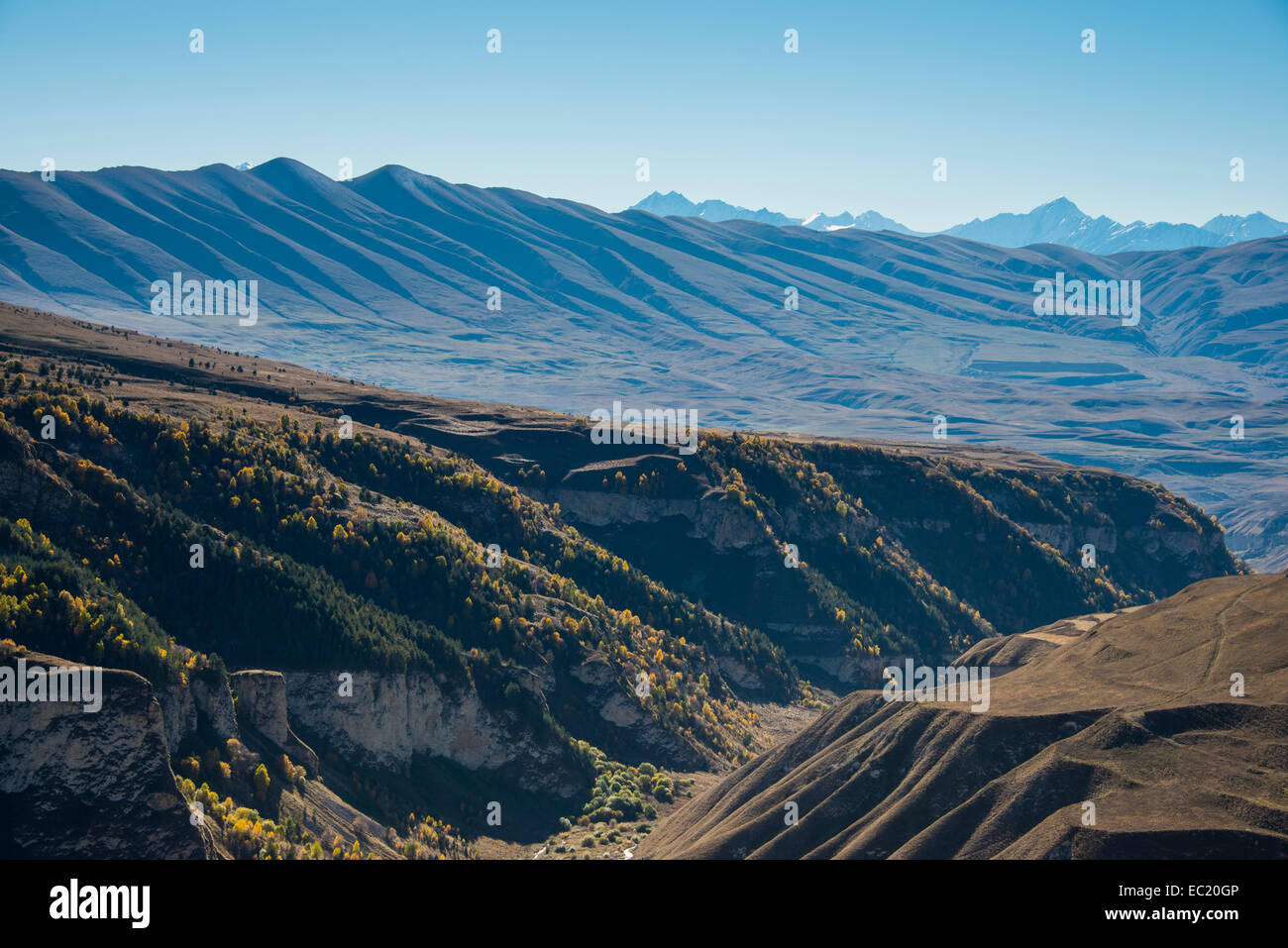 Overlook over the Chechen mountains, Chechnya, Caucasus, Russia - Stock Image