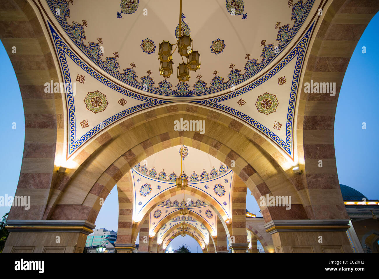 Ceiling in the Akhmad Kadyrov Mosque at dusk, Grozny, Chechnya, Caucasus, Russia Stock Photo