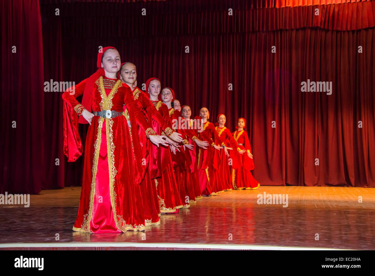 Chechen youth dancing ensemble, Grozny, Chechnya, Caucasus, Russia - Stock Image