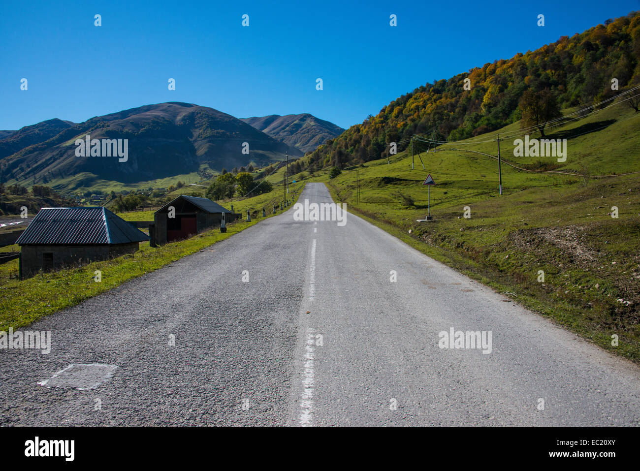 Road in the Chechen mountains, Chechnya, Caucasus, Russia - Stock Image