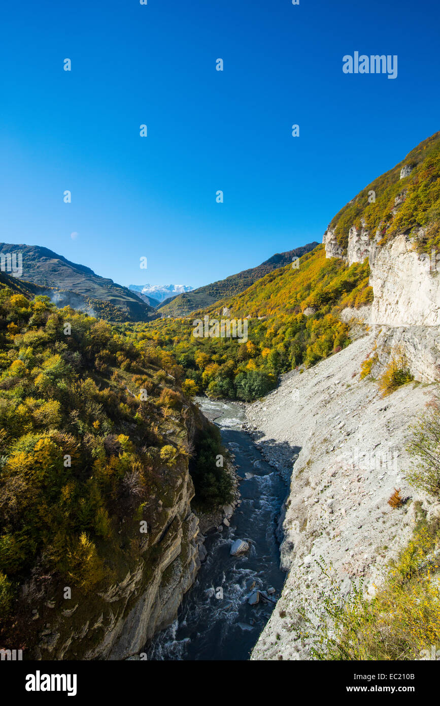 Gorge on the Argun river, Chechen mountains, Chechnya, Caucasus, Russia - Stock Image