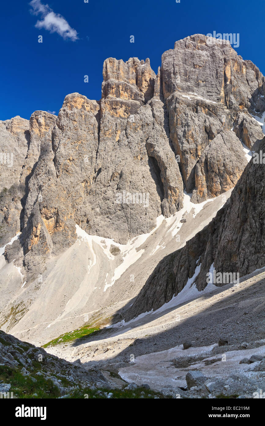 Piz da Lech peak in Sella mount from Mezdi valley, Italian Dolomites Stock Photo