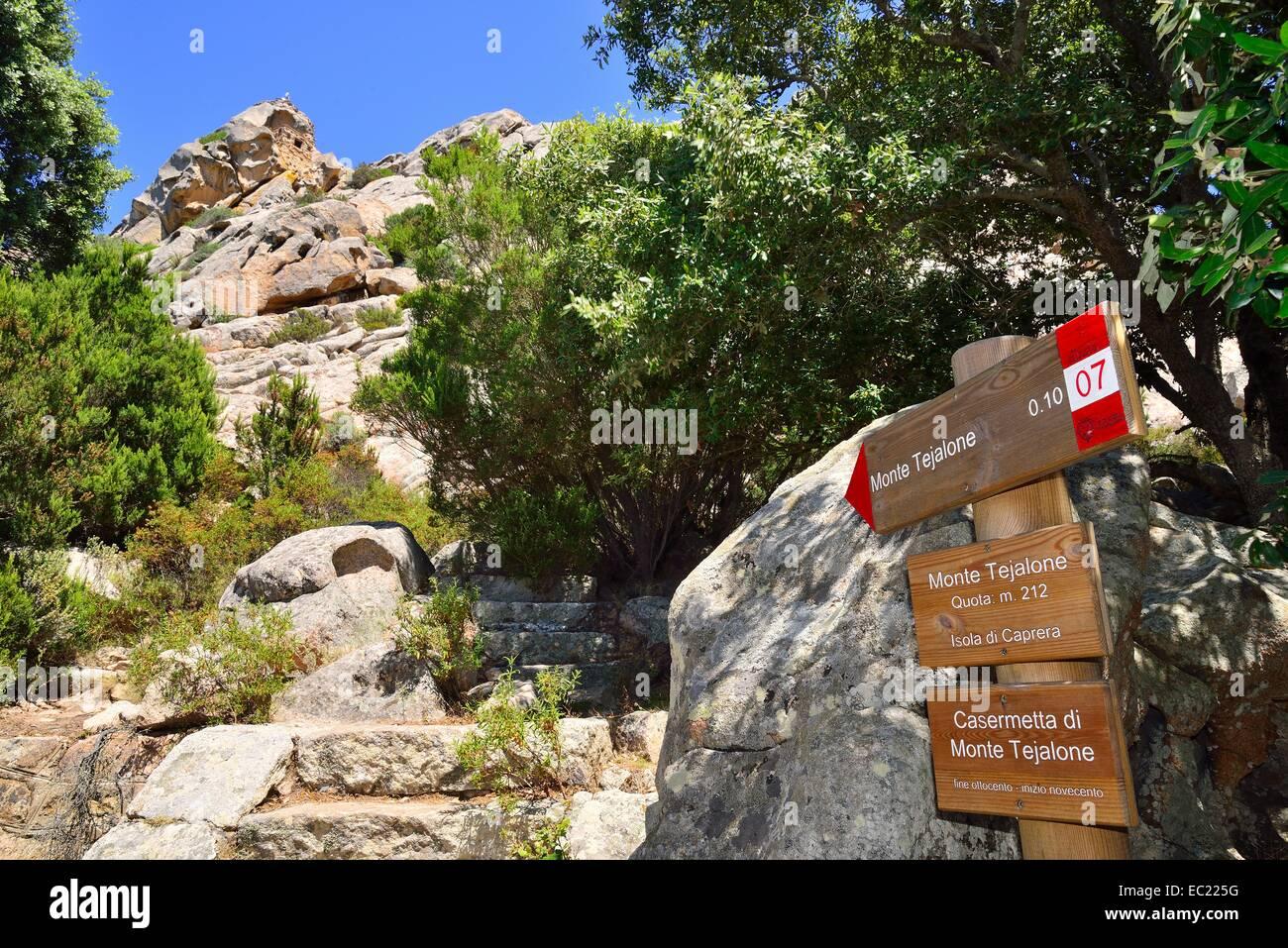Guide to Monte Tejalone, Isola Caprera, Arcipelago di La Maddalena National Park, Sardinia, Italy - Stock Image