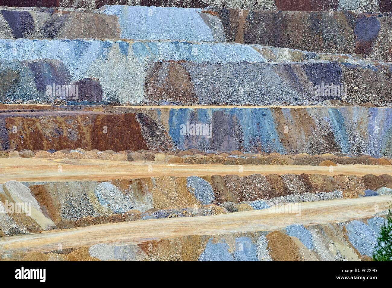 Ore mining, surface mining, Erzberg mountain at Eisenerz, Styria, Austria - Stock Image
