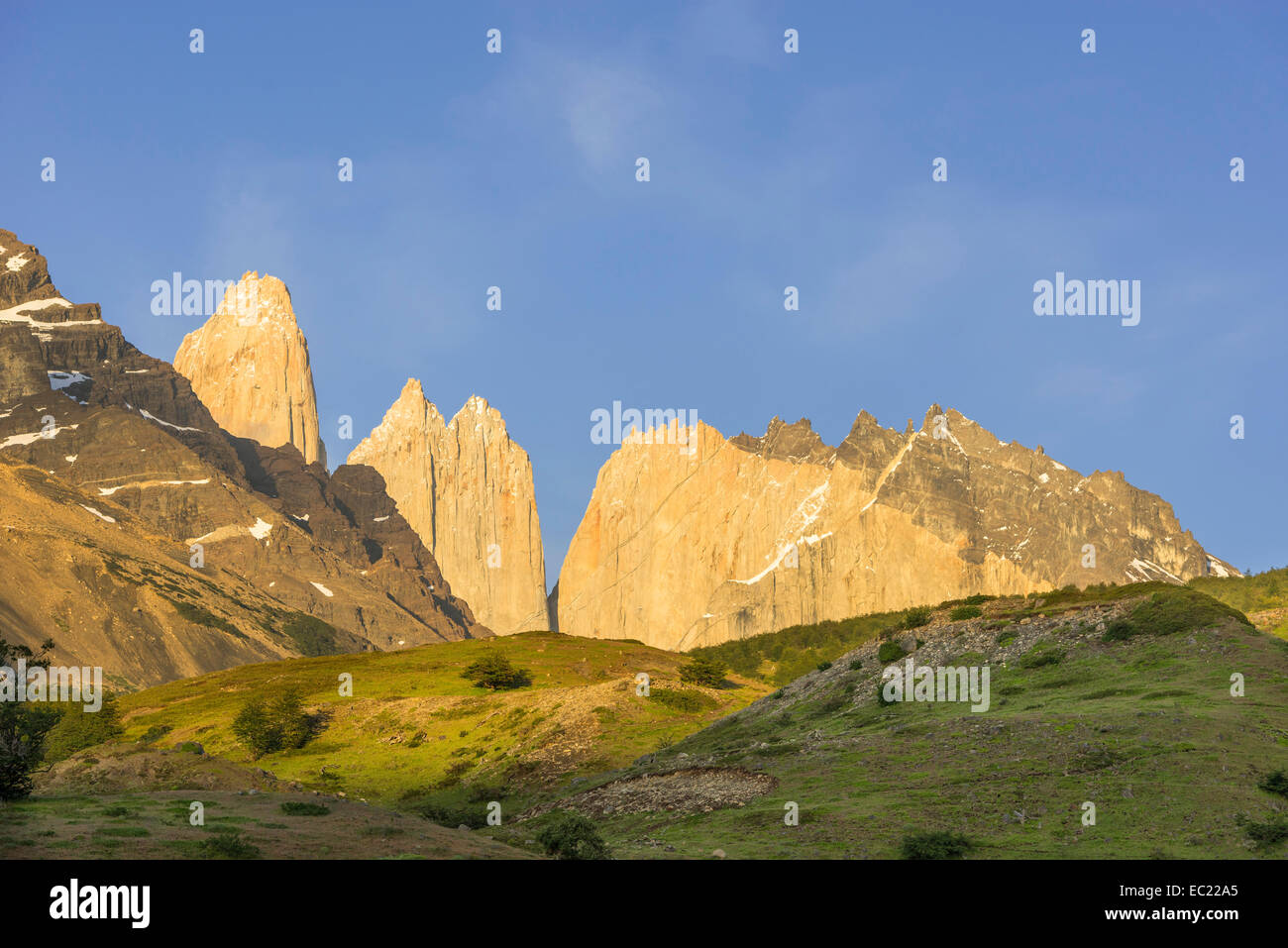 Torres del Paine in the morning, Torres del Paine National Park, Magallanes y la Antártica Chilena Region, - Stock Image