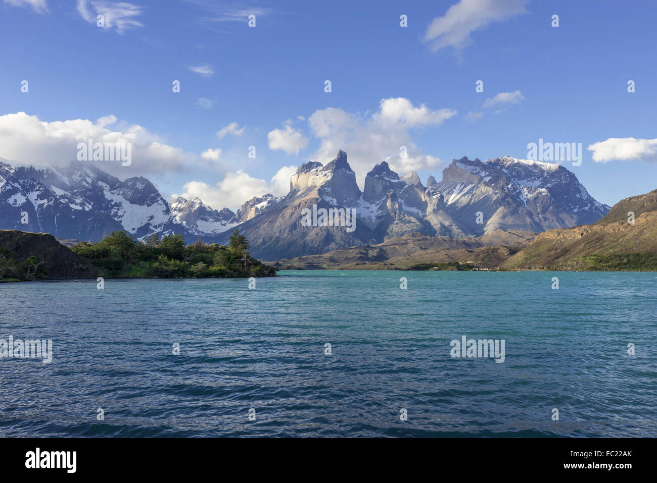 Pehoe Lake and Paine Grande Massif, Torres del Paine National Park, Magallanes y la Antártica Chilena Region, - Stock Image