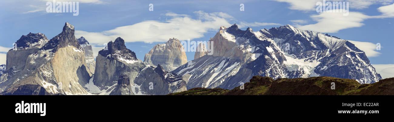 Paine Grande and Torres del Paine, Torres del Paine National Park, Magallanes y la Antártica Chilena Region, - Stock Image