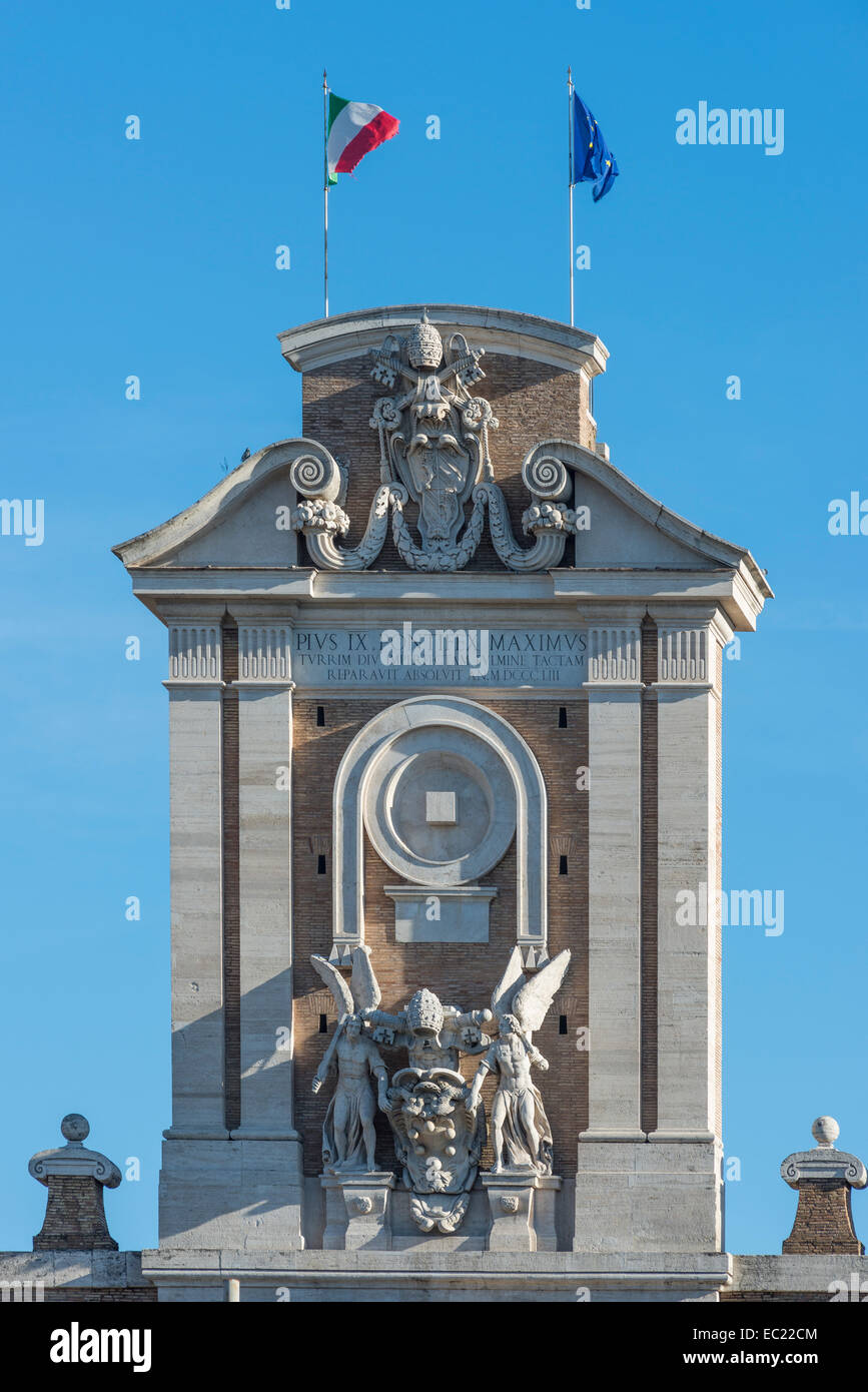 Gable, Porta Pia, gate in the Aurelian Wall, 1561-1565, by Michelangelo, Rome, Lazio, Italy - Stock Image