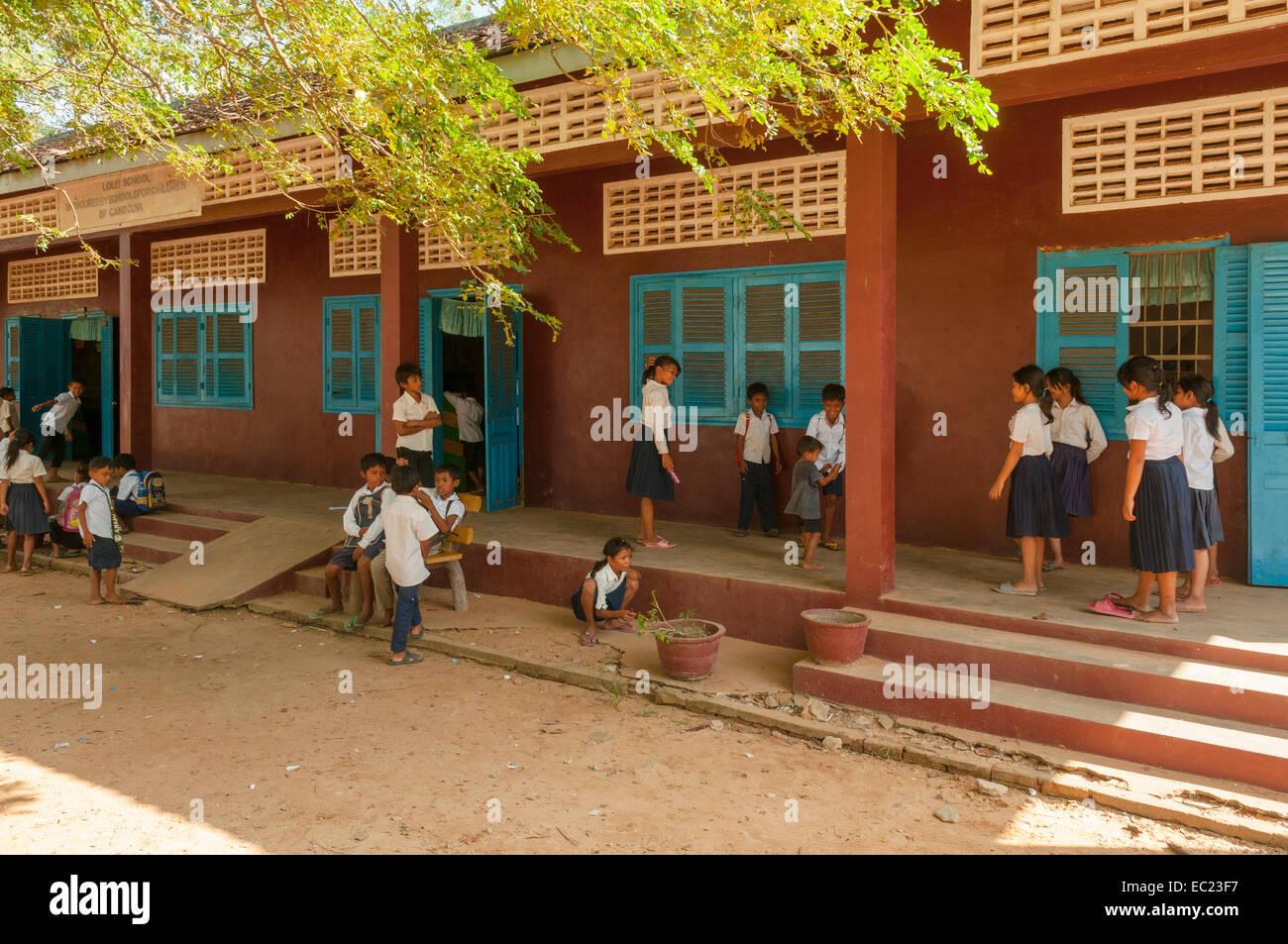 Schoolchildren at Lolei School near Siem Reap, Cambodia - Stock Image