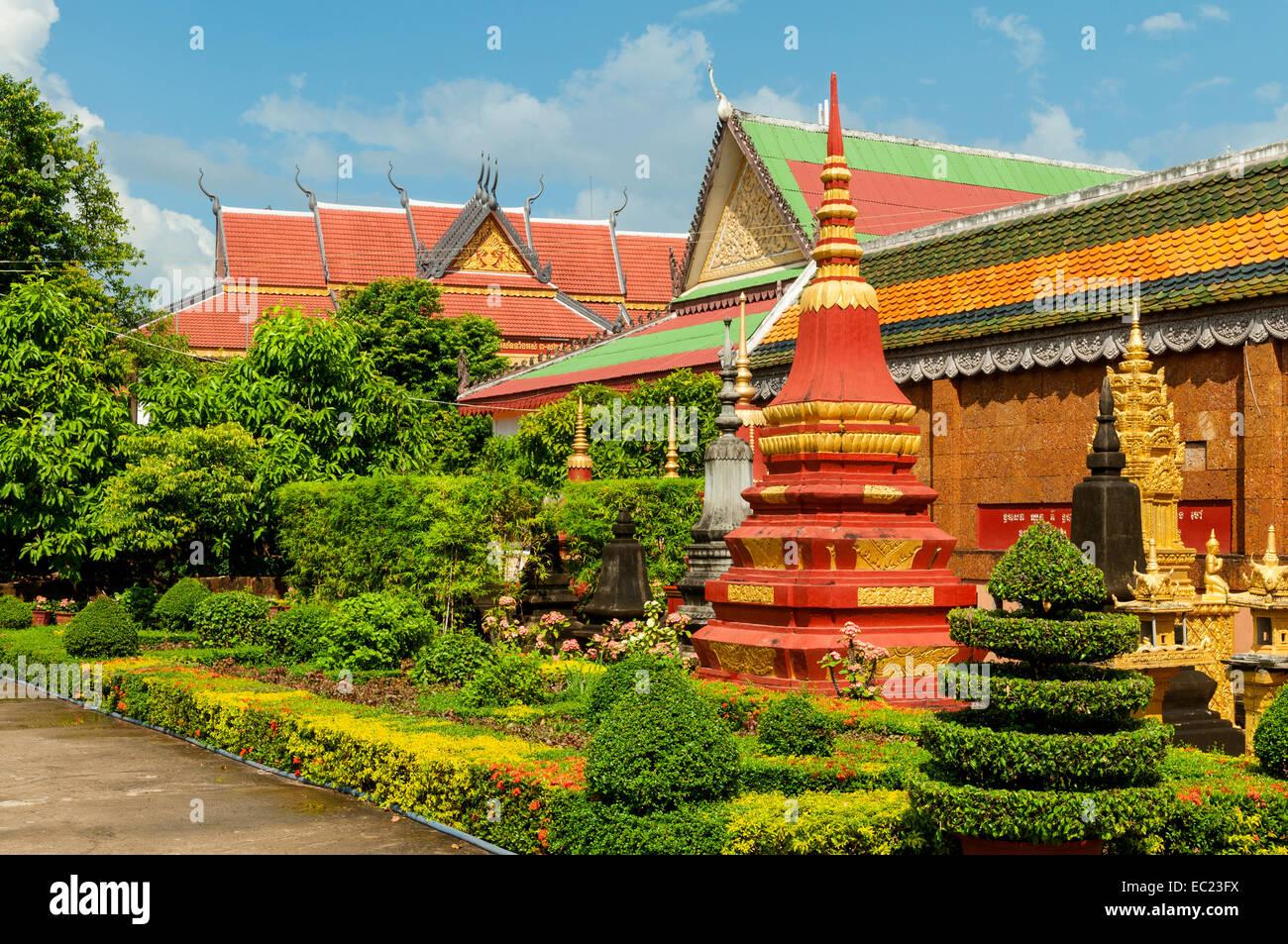 Cemetery Garden at Praea Monastery, Siem Reap, Cambodia Stock Photo