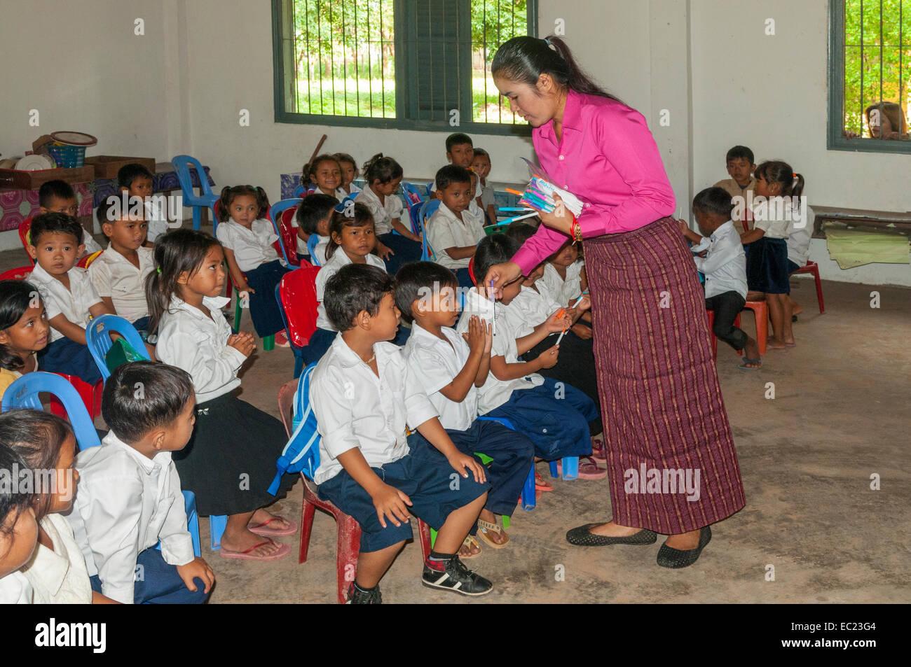 Schoolchildren in Class near Banteay Srei, Cambodia - Stock Image