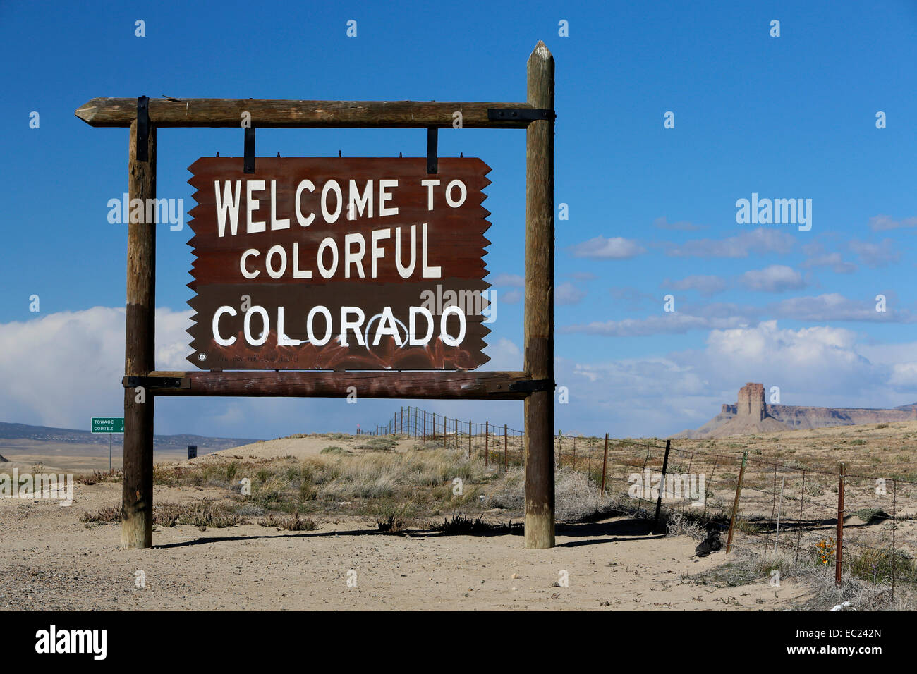 Welcome to Colorado, sign at Highway 491, Colorado, New Mexico, United States Stock Photo