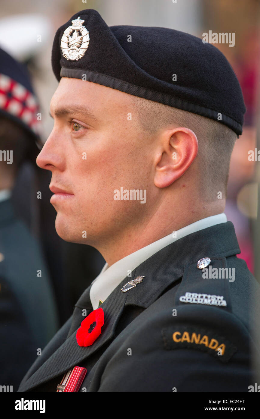 Canadian soldier at Remembrance Day Ceremony Vancouver - Stock Image