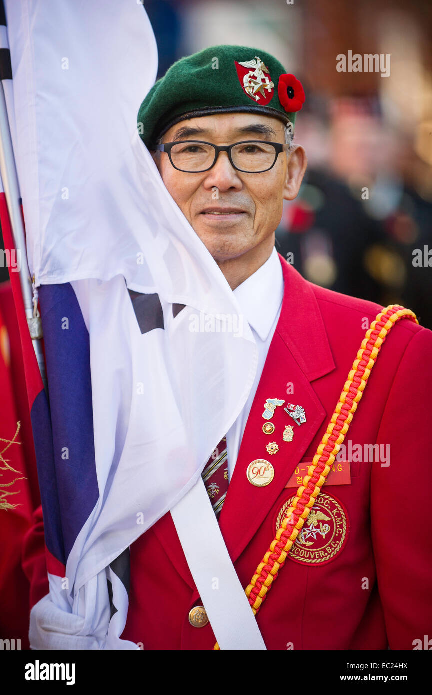Veteran in attendance at Remembrance Day Ceremony Vancouver - Stock Image