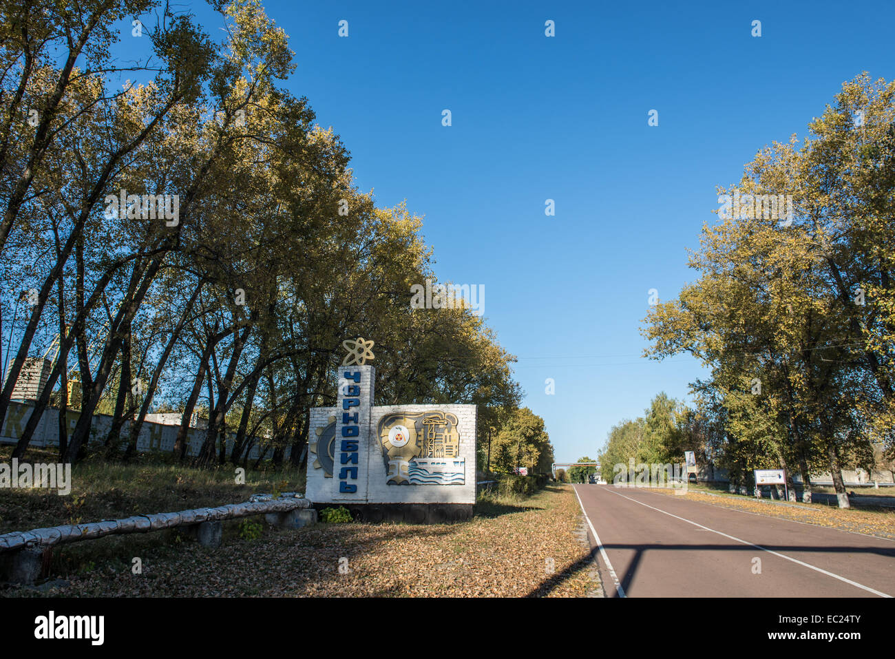 entry sign in Chernobyl, Chernobyl Exclusion Zone, Ukraine - Stock Image