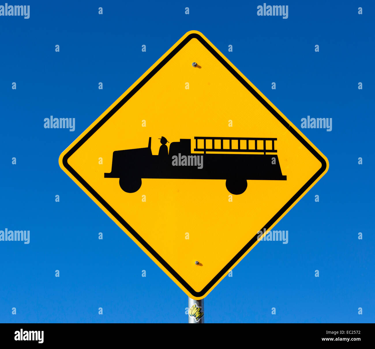 Fire Truck warning sign, USA - Stock Image