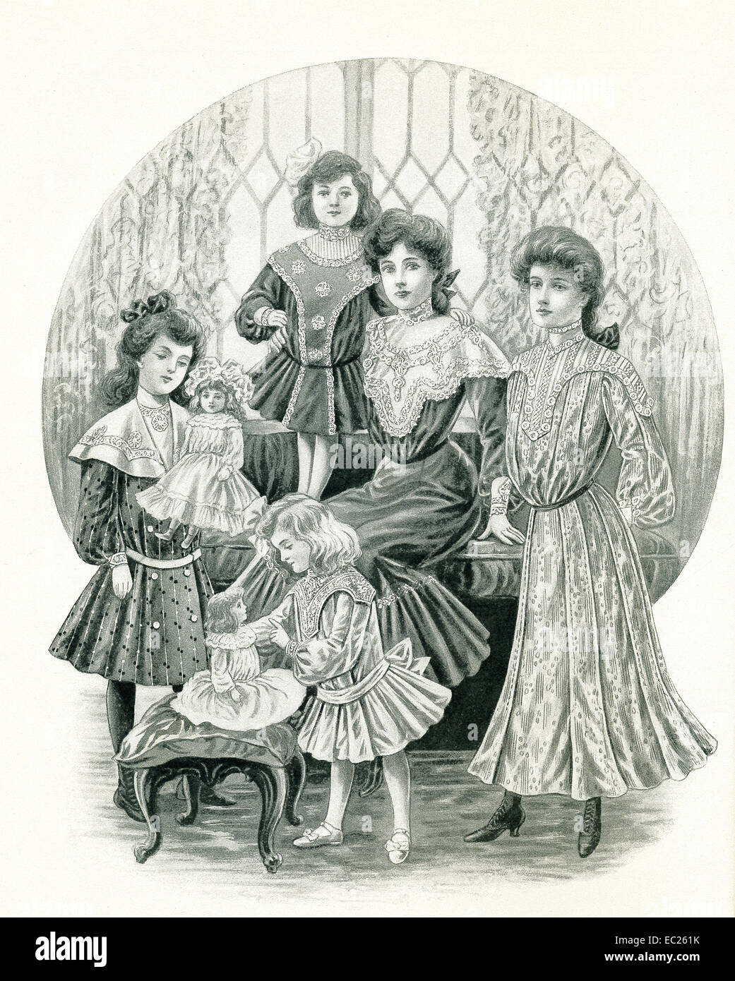 This page appeared in McCall's Magazine in March of 1904. It highlights the dress styles for ladies and young - Stock Image