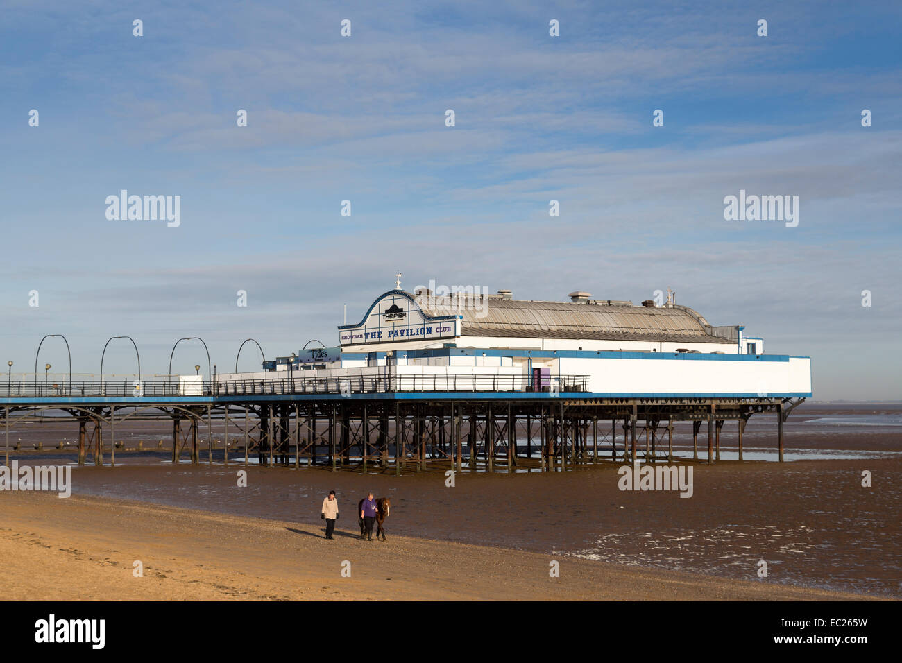 People walking horse on beach with pier at low tide, Cleethorpes, Lincolnshire, England, UK - Stock Image