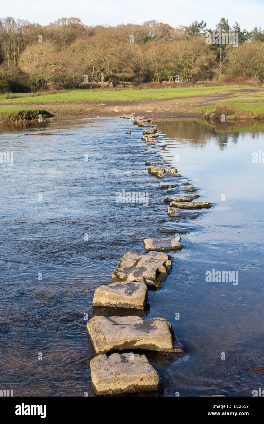 Stepping stones across river at Ogmore Castle, Wales, UK - Stock Image