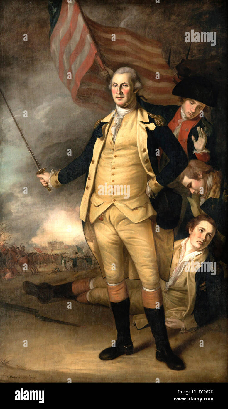 A 1784 portrait of Washington by Charles Willson Peale depicting him at the Battle of Princeton. Stock Photo