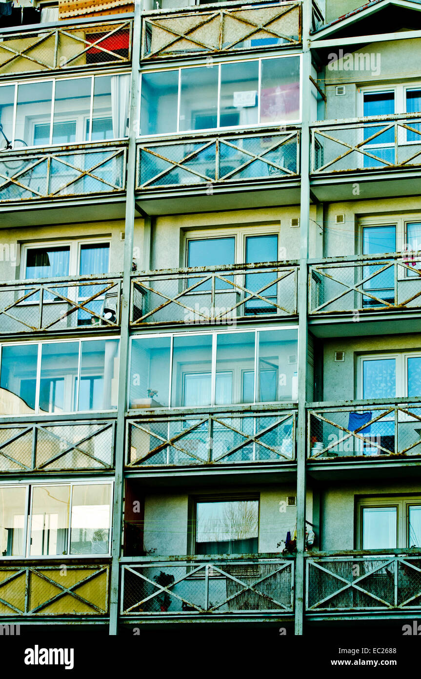 balconies of a flats building - Stock Image