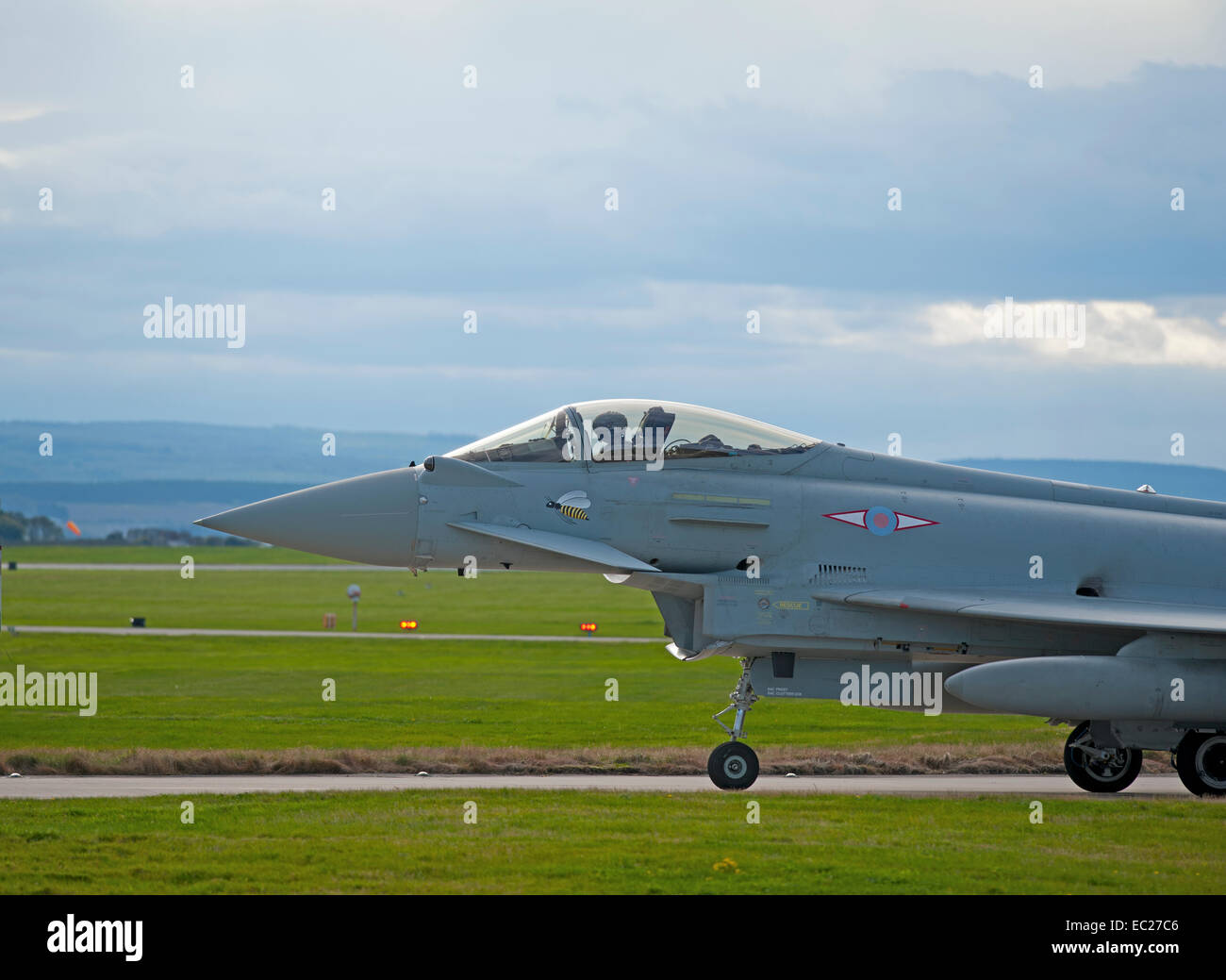 RAF 1 Squadron Eurofighter Typhoon FRG4 Fast Jet on runway taxi way.   SCO 9296. - Stock Image