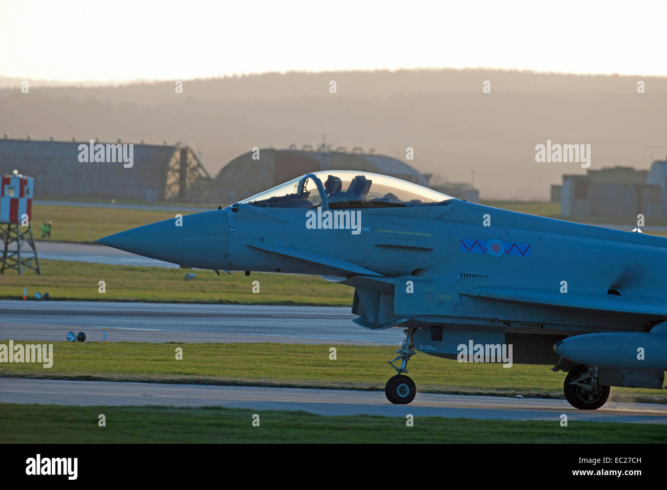 RAF Military All weather Eurofighter Typhoon FRG4 taxing on airfield runway.  SCO 9297 - Stock Image