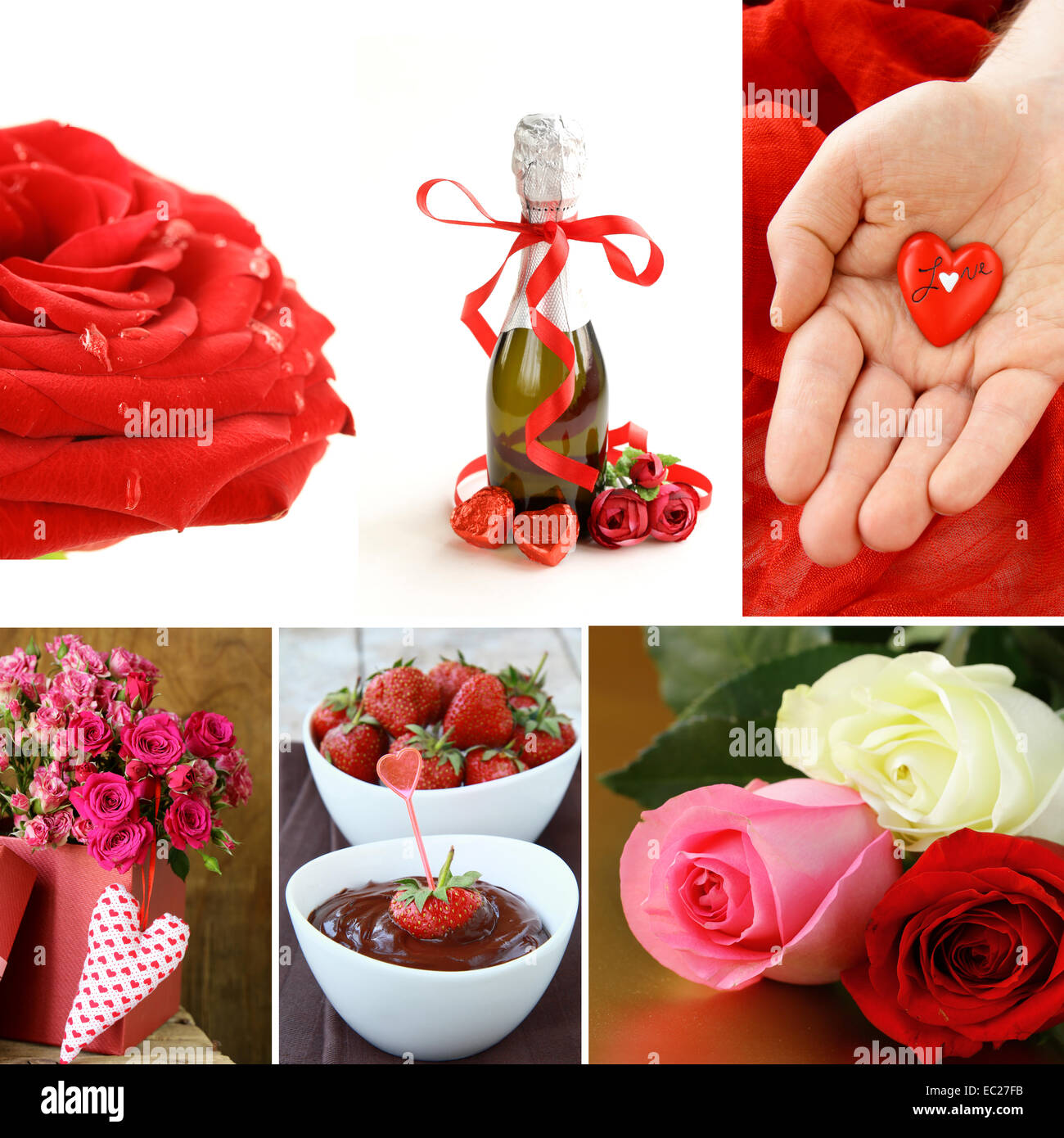 collage for the day of St. Valentine - flowers, hearts, gifts - Stock Image