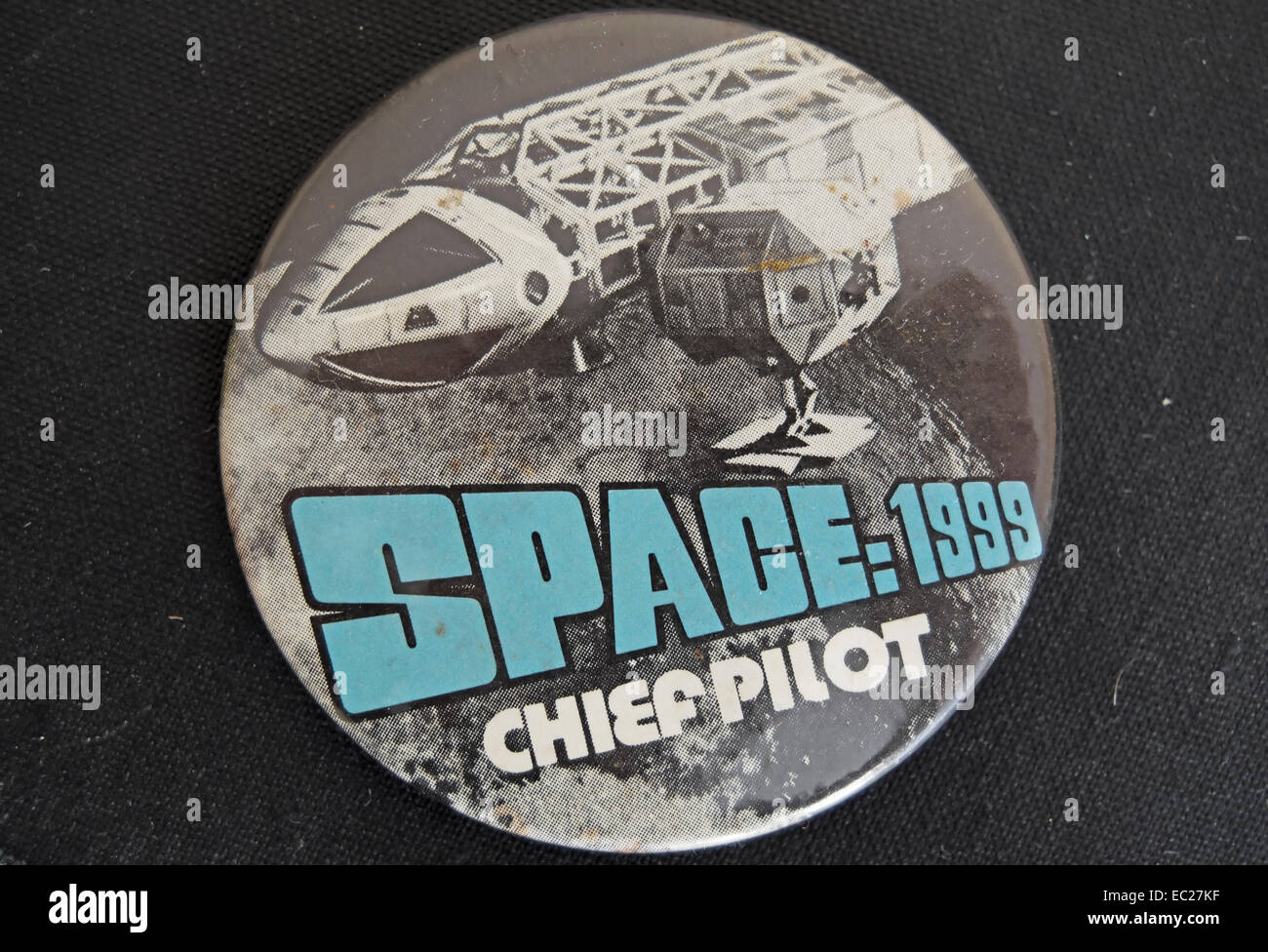 chief pilot lapel badge of the 1970s promoting the tv show, space 1999 - Stock Image