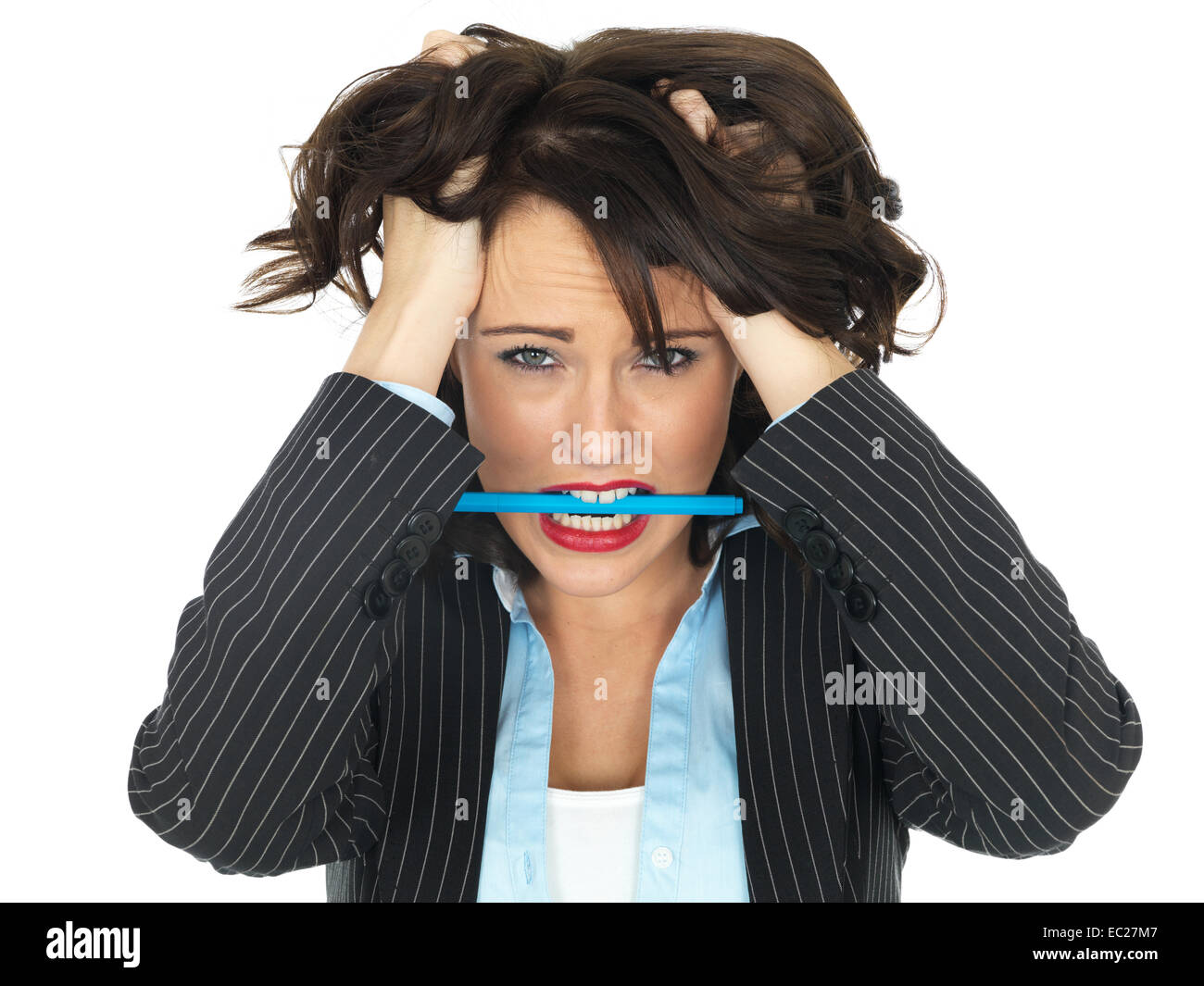 Angry Frustrated Young Business woman - Stock Image